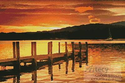cross stitch pattern Sunset Dock