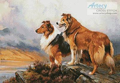cross stitch pattern Two Collies Above a Lake