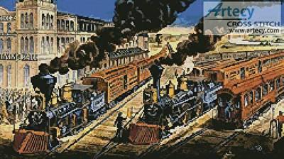 cross stitch pattern Trains