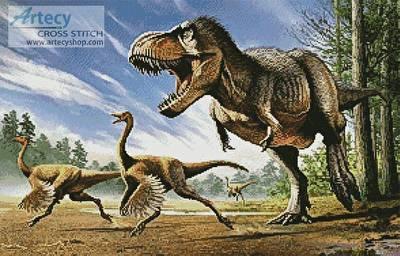 cross stitch pattern T-Rex attacking Struthiomimus Dinosaurs