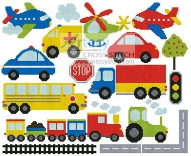 cross stitch pattern Transport Motifs