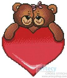cross stitch pattern Valentine Bears