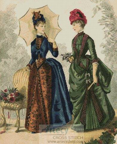 cross stitch pattern Victorian Fashions 2