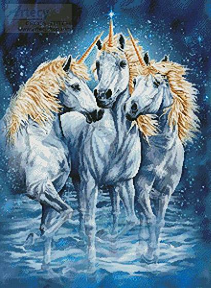 cross stitch pattern 10 Unicorns