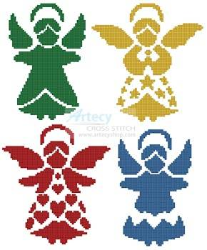 cross stitch pattern Angel Silhouettes