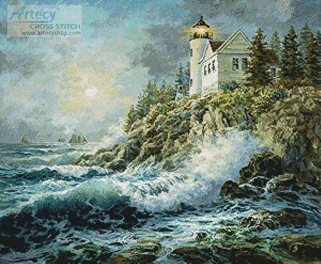 cross stitch pattern Bass Harbor Lighthouse