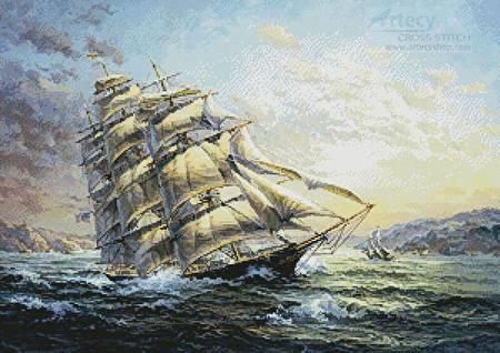 cross stitch pattern Clipper Ship Surprise