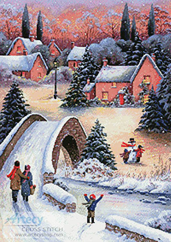 cross stitch pattern Christmas Town 2
