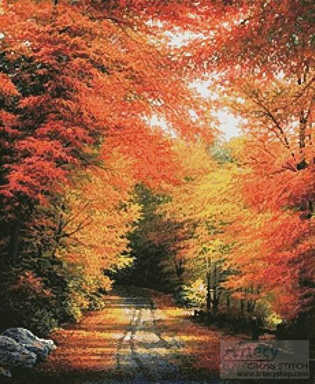 cross stitch pattern Autumn in New England