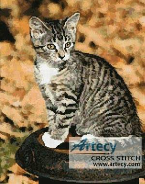 cross stitch pattern Autumn Kitten