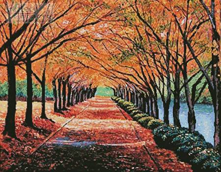 cross stitch pattern Autumn Tree Lane