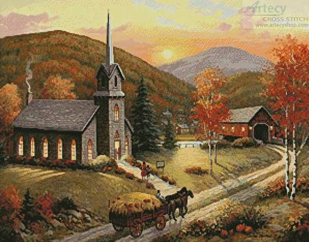cross stitch pattern Autumn in Vermont