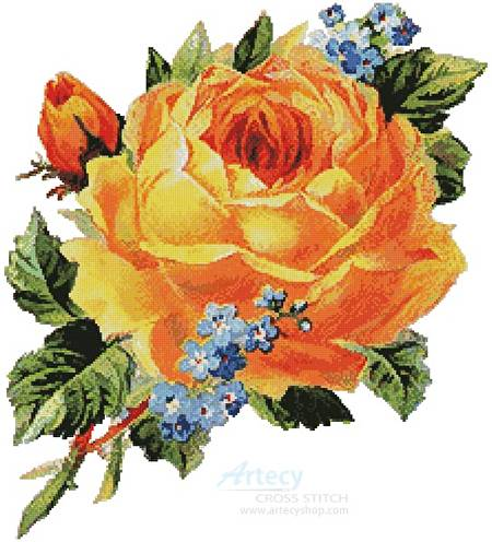cross stitch pattern Antique Yellow Rose 2