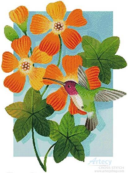 cross stitch pattern Beija Flor Orange