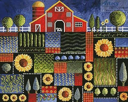 cross stitch pattern Blue Patch Meadows