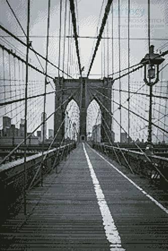 cross stitch pattern Brooklyn Bridge (Black and White)