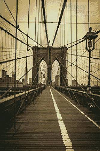 cross stitch pattern Brooklyn Bridge (Sepia)