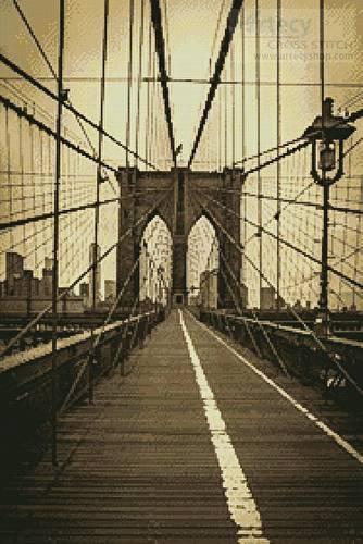 cross stitch pattern Brooklyn Bridge (Sepia)