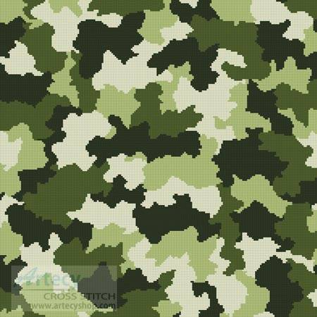 cross stitch pattern Camouflage Cushion