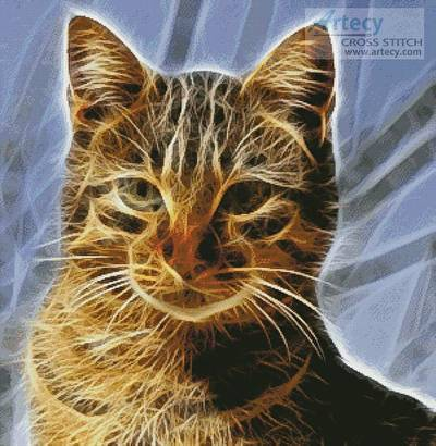 cross stitch pattern Cat Fractal