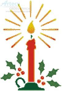 cross stitch pattern Christmas Candle