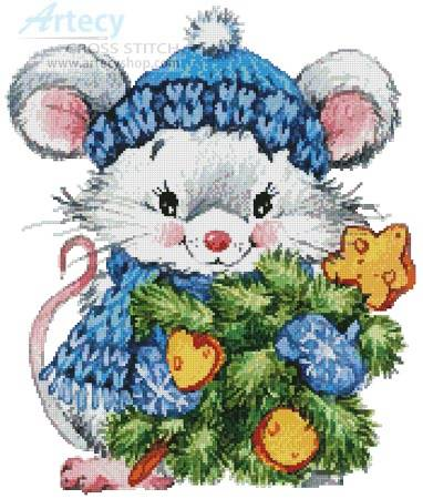 cross stitch pattern Christmas Mouse