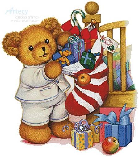 cross stitch pattern Christmas Teddy Boy