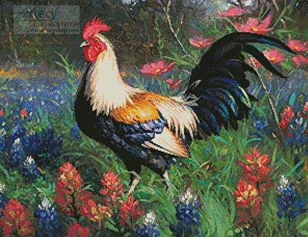 cross stitch pattern Colourful Rooster 2