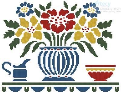 cross stitch pattern Cottage Shelf