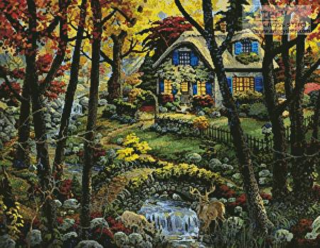 cross stitch pattern Cottage in a Forest