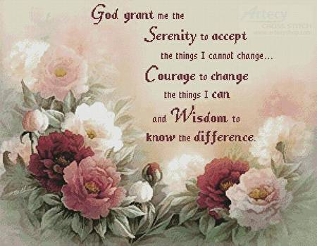 cross stitch pattern Floral Serenity Prayer