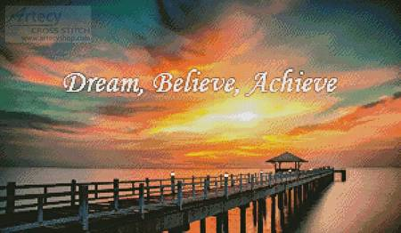 cross stitch pattern Dream, Believe, Achieve