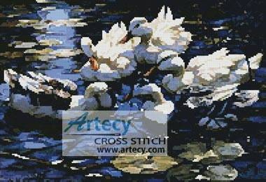 cross stitch pattern Five Ducks in a Pond