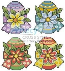 cross stitch pattern Floral Easter Eggs