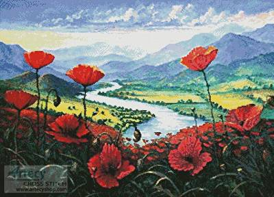 cross stitch pattern Red Poppies in the River Valley