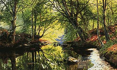 cross stitch pattern Forest Stream Painting