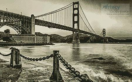 cross stitch pattern Golden Gate (Sepia)