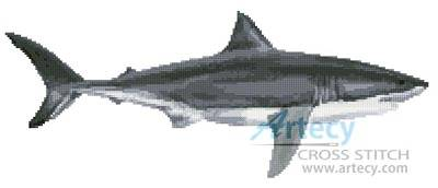 cross stitch pattern Great White Shark