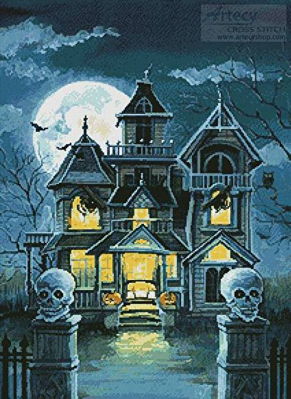 cross stitch pattern Haunted House