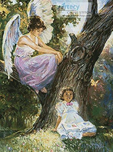 cross stitch pattern Guardian Angel and Girl