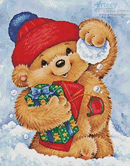 cross stitch pattern Teddy with Snowball