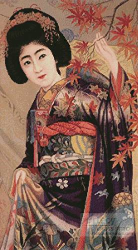 cross stitch pattern Japanese Beauty