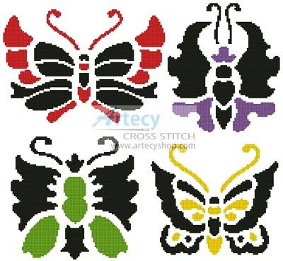 cross stitch pattern Asian Butterfly Set