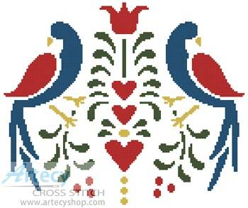 cross stitch pattern Folk Art Birds