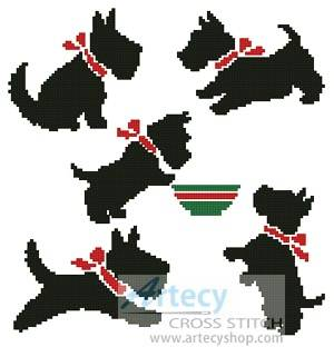 cross stitch pattern Scotty Dogs