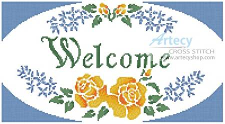 cross stitch pattern Welcome Sign