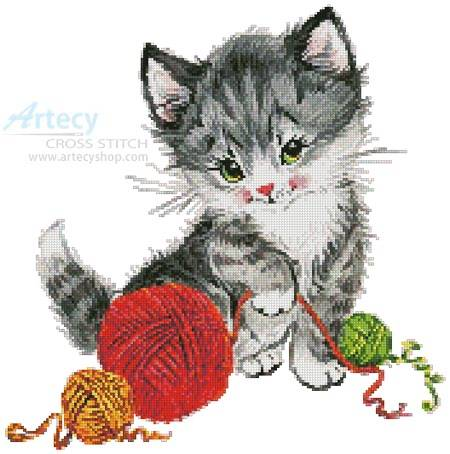 cross stitch pattern Kitten Playing with Wool
