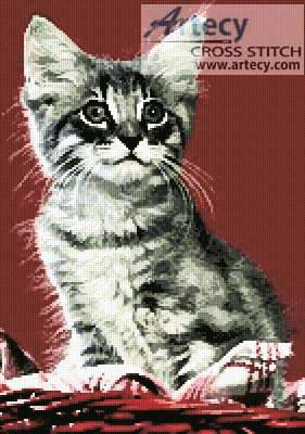 cross stitch pattern Kitten in Red