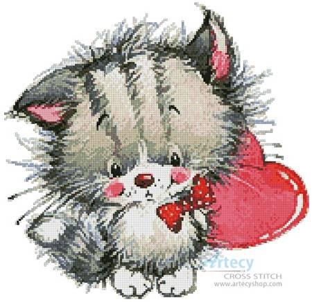 cross stitch pattern Kitty Heart