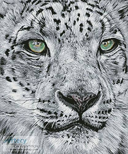 cross stitch pattern Snow Leopard Portrait